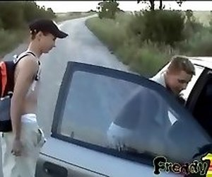 trio boys hitchhiking fun